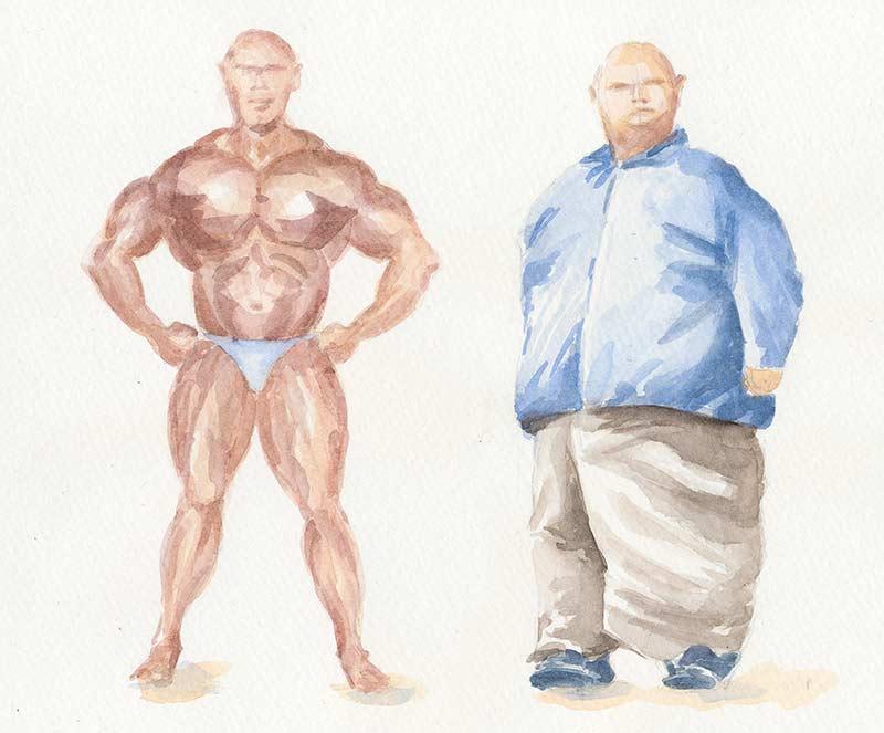 Pri rovnakej výške a váhe je rovnaké BMI. Na obrázku kulturista a veľmi túčný človek vedľa seba.
