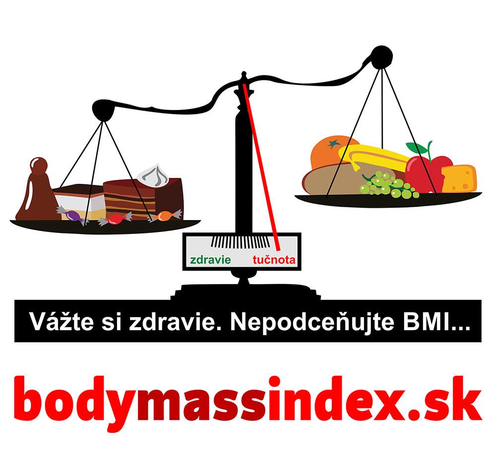 Strážte si svoje BMI zdravou stravou. Na obrázku je váha kde na jednej strave sú koláže a na druhej ovocie a zelenina. Váha je prevážená tak, že ukazuje smerom na obezitu, pretože koláče sú ťažšie.